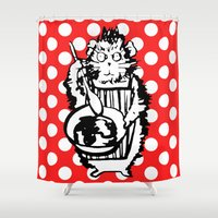 guinea pig Shower Curtains featuring Guinea Pig Baking Extraordinaire  by Katy Shorttle