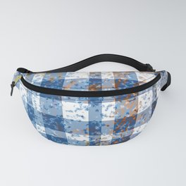 Distressed Blue and White Plaid Fanny Pack