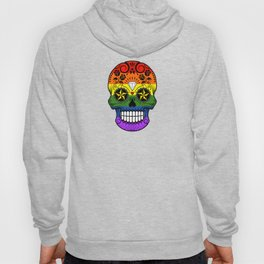 Gay Pride Rainbow Flag Sugar Skull with Roses Hoody