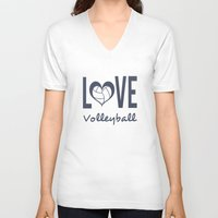 volleyball V-neck T-shirts featuring Love Heart Volleyball (blue) by raineon