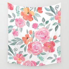 Amelia Floral in Pink and Peach Watercolor Wall Tapestry