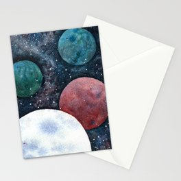 Journey through the cosmos. Alien planet watercolor Stationery Cards