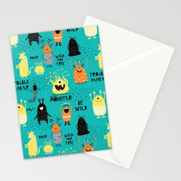Cute Silly Monsters Green Yellow Orange Pattern Stationery Cards
