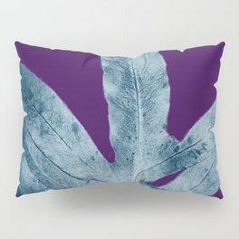 Midnight Sepia Navy Blue Purple Fern Pillow Sham