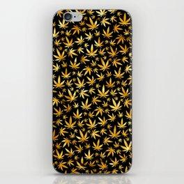 Black Gold Weed Pattern iPhone Skin