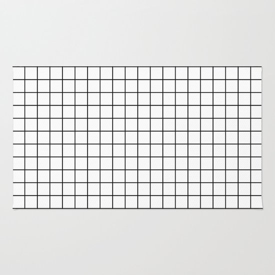 Geometric Black And White Grid Print Rug By Poindexterity