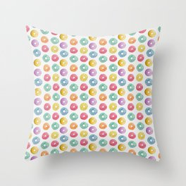 Watercolor Donut Pattern Throw Pillow