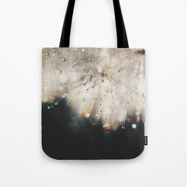 dandelion silver and black Tote Bag