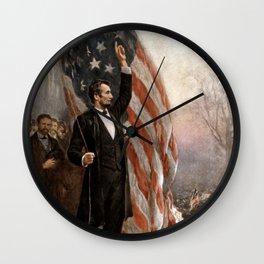 President Lincoln Giving A Speech Wall Clock