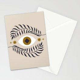 Mid Century Magic Minimalist Trendy Mystical Eye Plant Leaves Neutral Tones Bohemian Symbol Astrological Style Stationery Cards