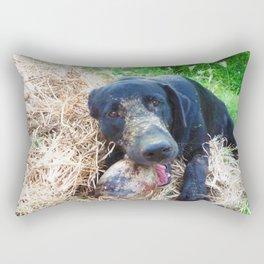 Morgan at work: breaking coconut Rectangular Pillow