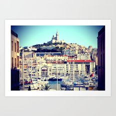 MARSEILLE Vieux Port and Cathedral view Art Print