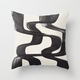 Mid Century Modern Minimalist Abstract Art Brush Strokes Black & White Ink Art Ripple Lines Throw Pillow