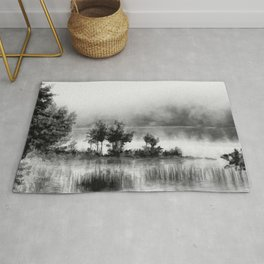 Watercolor Landscape on Water (Black and White) Rug