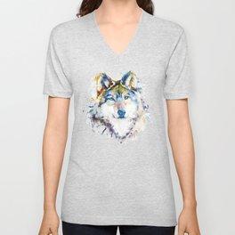 Wolf Face Watercolor Portrait Unisex V-Neck