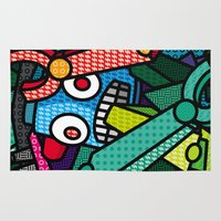 artsy Area & Throw Rugs featuring Artsy Bot by Brandon Ortwein