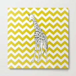 Golden Poppy Safari Chevron with Pop Art Giraffe Metal Print