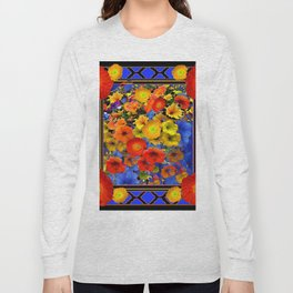 BLUE ABSTRACT OF POPPIES & YELLOW PETUNIA FLOWERS Long Sleeve T-shirt