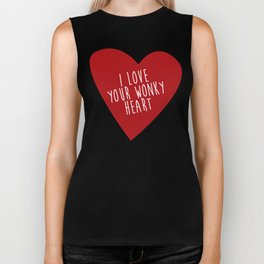 i love your wonky heart Biker Tank