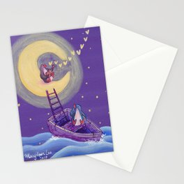 Penguin's Ladder Connects Boat to the Moon and the Singing Penguin Stationery Cards
