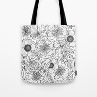 oana befort Tote Bags featuring FLORALS by Oana Befort