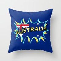 australia Throw Pillows featuring Australia by mailboxdisco