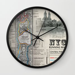 """NYC's Central Park [Black and White] """"San Remo"""" Running route map Wall Clock"""