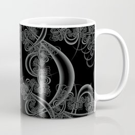 Neutral Gray on Black Fractal Coffee Mug