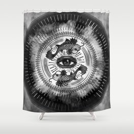 All Seeing Eye and Koi Fish - Black and White Shower Curtain
