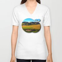 farm V-neck T-shirts featuring From farm to farm by Patrick Jobst