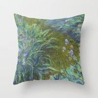 monet Throw Pillows featuring Irises by Claude Monet by Palazzo Art Gallery