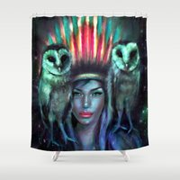 owls Shower Curtains featuring Owls by Slaveika Aladjova