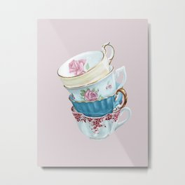 Lean on Me in Pink | Teacup Painting Metal Print