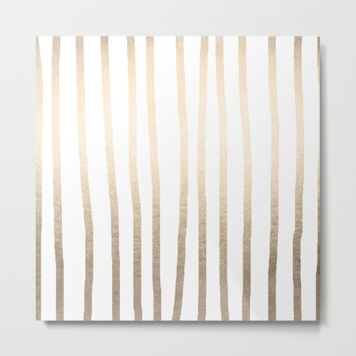Simply Drawn Vertical Stripes in White Gold Sands Metal Print