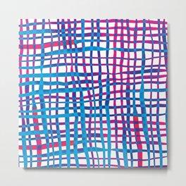 Watercolor doodle gingham - blue and purple Metal Print