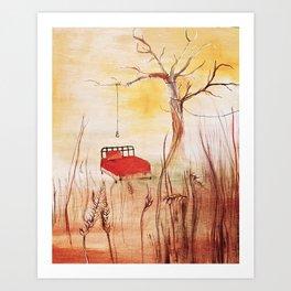Little Red Bed Art Print