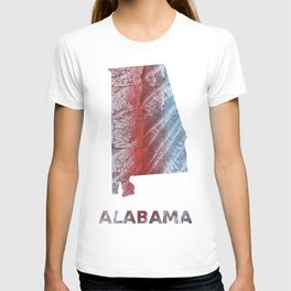 Alabama map outline Red blue watercolor T-shirt