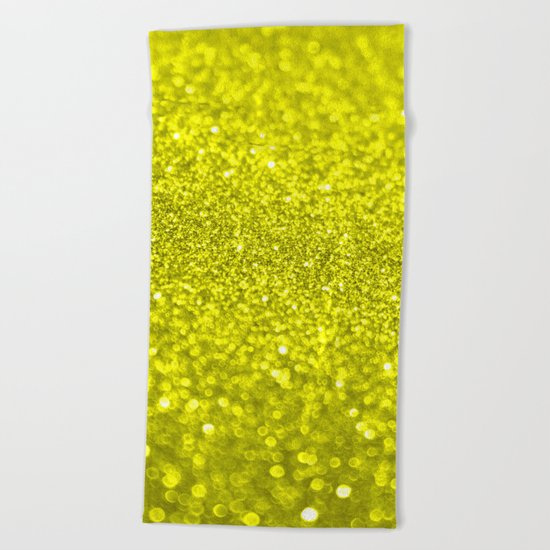 Bright Yellow Glitter Beach Towel