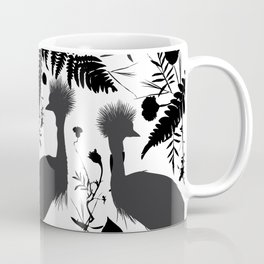 Black crowned crane with grass and flowers black silhouette Coffee Mug