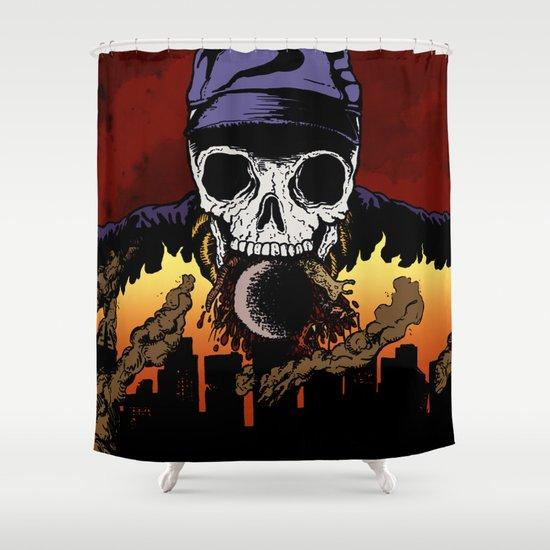 """Hip Hop Horror"" by Cap Blackard Shower Curtain"