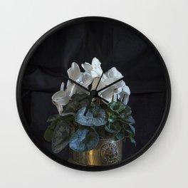 Flower: White Cyclamen Wall Clock
