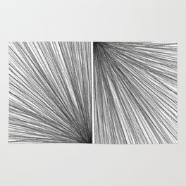 Mid Century Modern Geometric Abstract Radiating Lines Rug