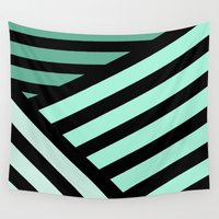 striped Wall Tapestries featuring STRIPED {MINT} by N A T