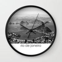 rio de janeiro Wall Clocks featuring Rio De Janeiro by ricardoaguiar