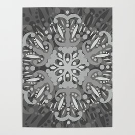 Gray Ombre Tapestry and Bohemian Ombre Mandala Bedding Poster