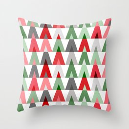 Geometric Triangles | red green white Throw Pillow