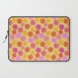 Hibiscus Hawaiian Flowers in Pinks and Corals on Yellow Laptop Sleeve