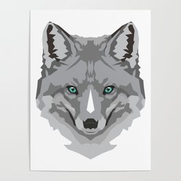 Grey Geometric Fox Poster