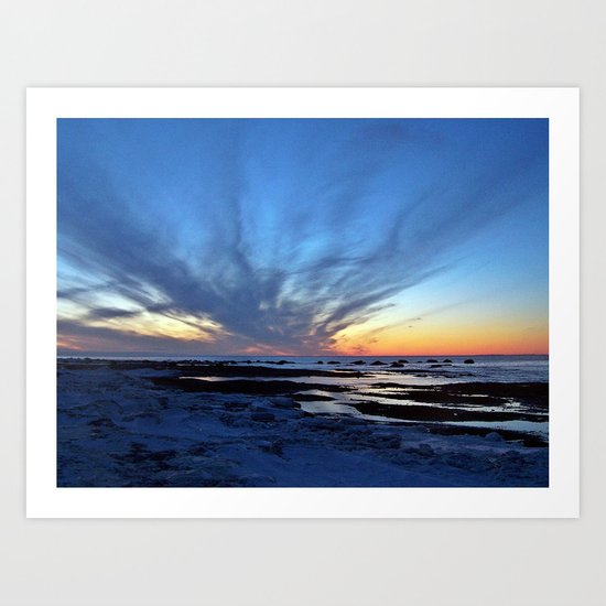 Cloud Streaks at Sunset Art Print