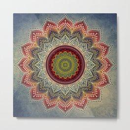 Retro Folk Art - Spirit Lotus Mandala Blue Red Metal Print